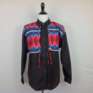 Vintage Adobe Rose Shirt Womens Medium Western